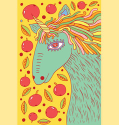 Unicorn horse - doodle cartoon drawing vector