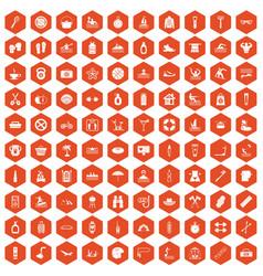 100 human health icons hexagon orange vector