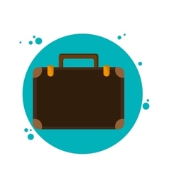 Suitcase baggage luggage circle icon vector