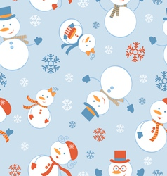 Cute snowmen pattern vector