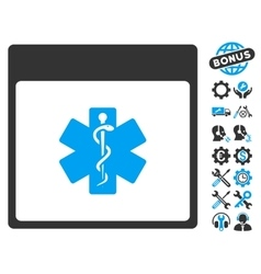 Medical Life Star Calendar Page Icon With vector image