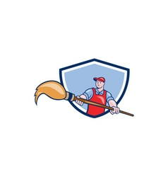 Artist painter giant paintbrush crest cartoon vector