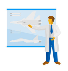 The scientist shows a poster with a fighter vector