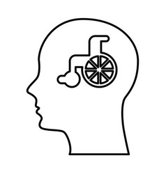 Human profile with wheelchair vector