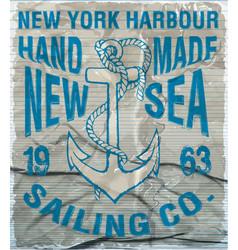 Ocean sailing yacht club grunge artwork for t vector