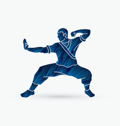 Kung fu action ready to fight vector