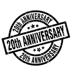 20th anniversary round grunge black stamp vector