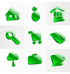 set glass icons button color symbol vector image