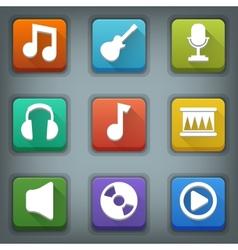 Flat icon set White Symbols Music vector image