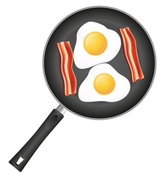 Fried eggs in a frying pan 03 vector