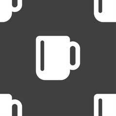 Cup coffee or tea icon sign seamless pattern on a vector