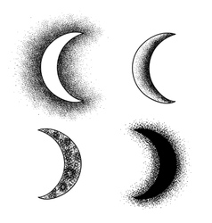 Hand drawn moon phases silhouettes vector