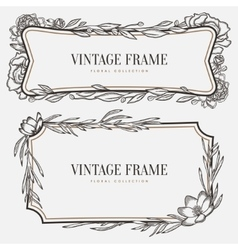 Floral vintage frame retro style graphic vector