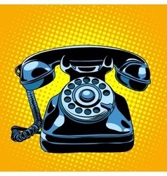 Black retro phone vector image
