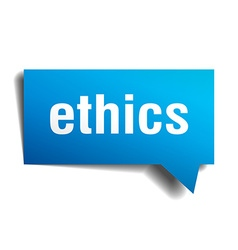 Ethics blue 3d realistic paper speech bubble vector