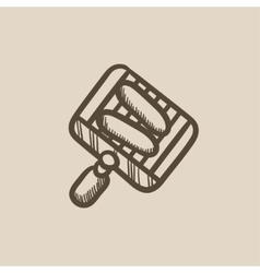 Grilled sausage on grate for barbecue sketch icon vector