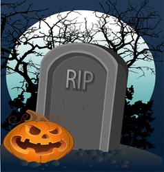 Halloween decoration - a grave with a pumpkin vector