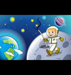 A smiling astronaut in the outerspace vector