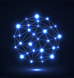 Abstract polygonal sphere with glowing dots vector