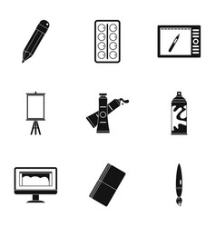 art school icons set simple style vector image vector image