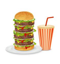 Big hamburger and drink vector image
