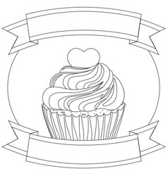 black and white cupcake poster heart topping text vector image