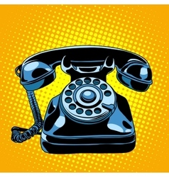 Black retro phone vector image vector image