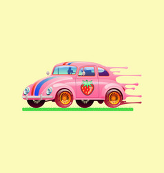 Bubble gum car vector