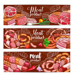 Butchery meat and sausages products banners vector