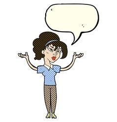 Cartoon woman raising hands in air with speech vector