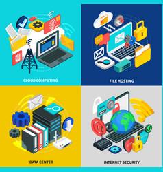 Cloud technology 2x2 design concept vector