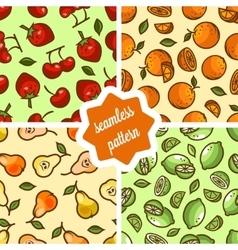 Cute fruit patterns set vector