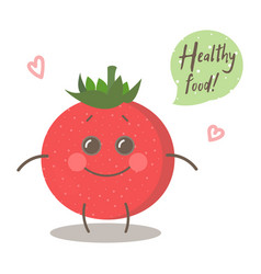 Cute happy smiling tomato with words healthy food vector