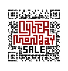 Cyber Monday Sale Lettering with QR-code consist vector image