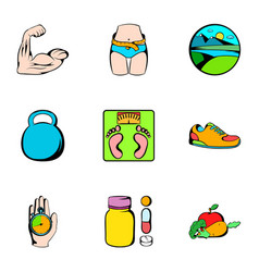 Fitness icons set cartoon style vector