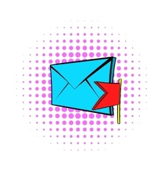 Flag e-mail icon pop-art style vector