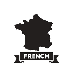 Flat icon in black and white map of france vector