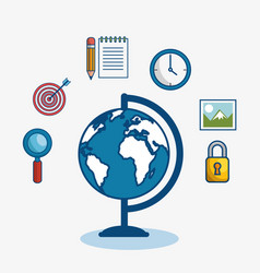 Globe surrounded by objects icon vector
