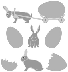 Grey rabbits with eggs isolated on white vector image vector image