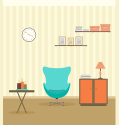 interior design in flat style of living room with vector image