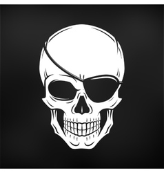 Jolly roger with eyepatch logo template evil vector