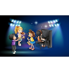 Kids playing music on stage vector