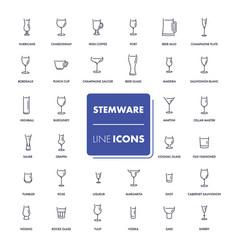 line icons set stemware vector image