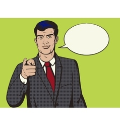 Man pointing forward finger pop art style vector image vector image