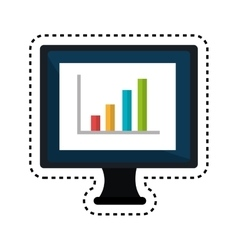 Monitor desktop computer with statistics graph vector