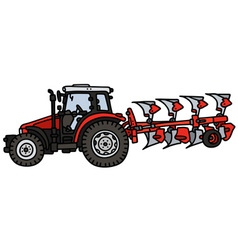 Red tractor with a plow vector