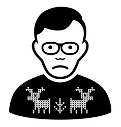 Sad deers pullover loser black icon vector