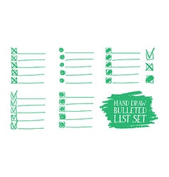 set of insulated bulleted lists vector image