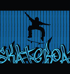 Skataboarding background blue vector