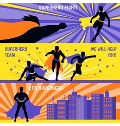 Superhero Horizontal Banners Set vector image vector image